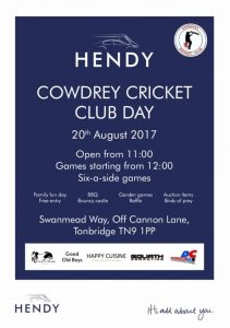 Hendy Group Cowdrey Cricket Club Day 2017